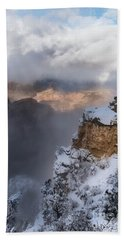 Hand Towel featuring the photograph Winter At The Grand  Canyon by Sandra Bronstein