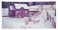 Winter At The Gristmill. Bath Towel