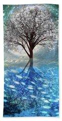 Bath Towel featuring the digital art Winter At The Reef by Debra and Dave Vanderlaan