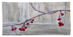 Winter Berries Watercolor Bath Towel