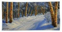 Winter Birch Road Hand Towel