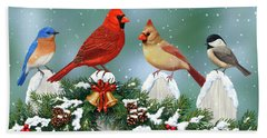 Winter Birds And Christmas Garland Hand Towel by Crista Forest