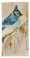 Winter Bluejay Hand Towel by Maria Urso