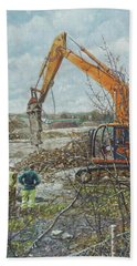 Bath Towel featuring the painting Winter Building Site Breaker by Martin Davey