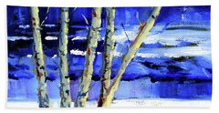 Hand Towel featuring the painting Winter By The River by Nancy Merkle