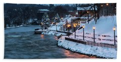 Hand Towel featuring the photograph Winter Canal Walk by Everet Regal