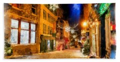 Winter Carnival Old Quebec City Lower Town Bath Towel