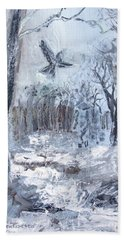 Bath Towel featuring the painting Winter Caws by Robin Maria Pedrero