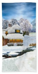 Winter Country Cottage Bath Towel