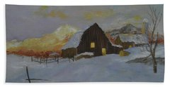 Winter Dusk On The Farm Bath Towel