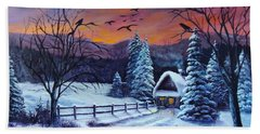 Winter Evening 2 Hand Towel by Bozena Zajaczkowska