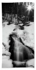 Hand Towel featuring the photograph Winter Falls With Sun by Alan Raasch