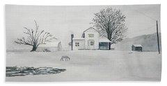 Winter Farm 2 Hand Towel by Christine Lathrop
