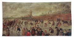 Hand Towel featuring the photograph Winter Fun Painting By Barend Avercamp by Patricia Hofmeester