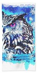 Cute Screech Owl Winter Artwork Bath Towel