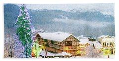 Winter Holiday In The Village Hand Towel
