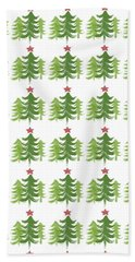 Winter Holiday Trees 1-  Art By Linda Woods Hand Towel