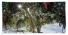 Hand Towel featuring the photograph Winter Holly by Jessica Brawley