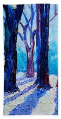 Hand Towel featuring the painting Winter Impression by Ana Maria Edulescu