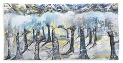 Bath Towel featuring the painting Winter In The Woods by Evelina Popilian