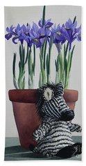 Winter Irises And Zebra Bath Towel