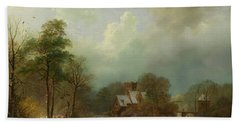 Bath Towel featuring the painting Winter Landscape - Holland by Barend Koekkoek