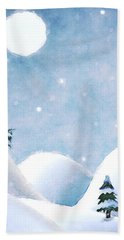 Winter Landscape Under Full Moon Hand Towel