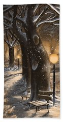 Hand Towel featuring the painting Winter Magic by Veronica Minozzi