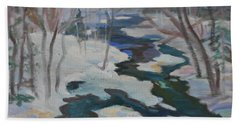 Hand Towel featuring the painting Winter Mill Stream  by Francine Frank