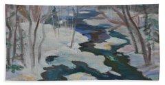 Winter Mill Stream  Bath Towel by Francine Frank