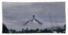 Winter Morning Fog Envelops Chimney Rock Bath Towel by Jason Coward