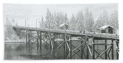 Winter Morning In The Pier Hand Towel