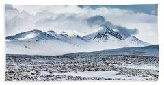 Winter Mountains Landscape, Iceland Bath Towel