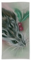 Winter Mouse With Holly Hand Towel