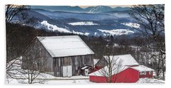 Winter On The Farm On The Hill Hand Towel