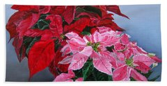 Winter Poinsettias Bath Towel