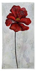 Bath Towel featuring the painting Winter Poppy I by Shadia Derbyshire