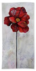 Bath Towel featuring the painting Winter Poppy II by Shadia Derbyshire