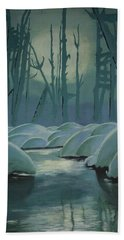 Bath Towel featuring the painting Winter Quiet by Jacqueline Athmann