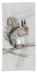 Winter Red Squirrel Bath Towel