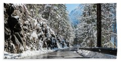 Winter Road Bath Towel by Sergey Simanovsky