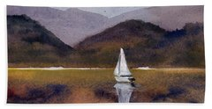 Winter Sailing At Our Island Hand Towel by Randy Sprout