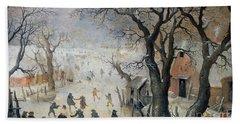 Winter Scene Hand Towel by Hendrik Avercamp