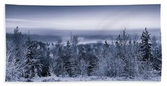 Winter Scenery Of The Lake Hiidenvesi Bw Hand Towel