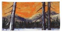 Bath Towel featuring the painting Winter Solitude #2 by Anastasiya Malakhova
