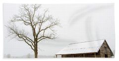 Winter Storm On The Farm Hand Towel by George Randy Bass