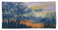 Hand Towel featuring the painting Winter Sundown Sketch by Kathleen McDermott