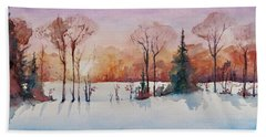 Bath Towel featuring the painting Winter Sunrise by Geni Gorani