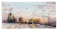 Winter Sunrise On The Lane Bath Towel by Judith Levins