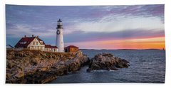 Winter Sunrise Over Portland Head Light Bath Towel
